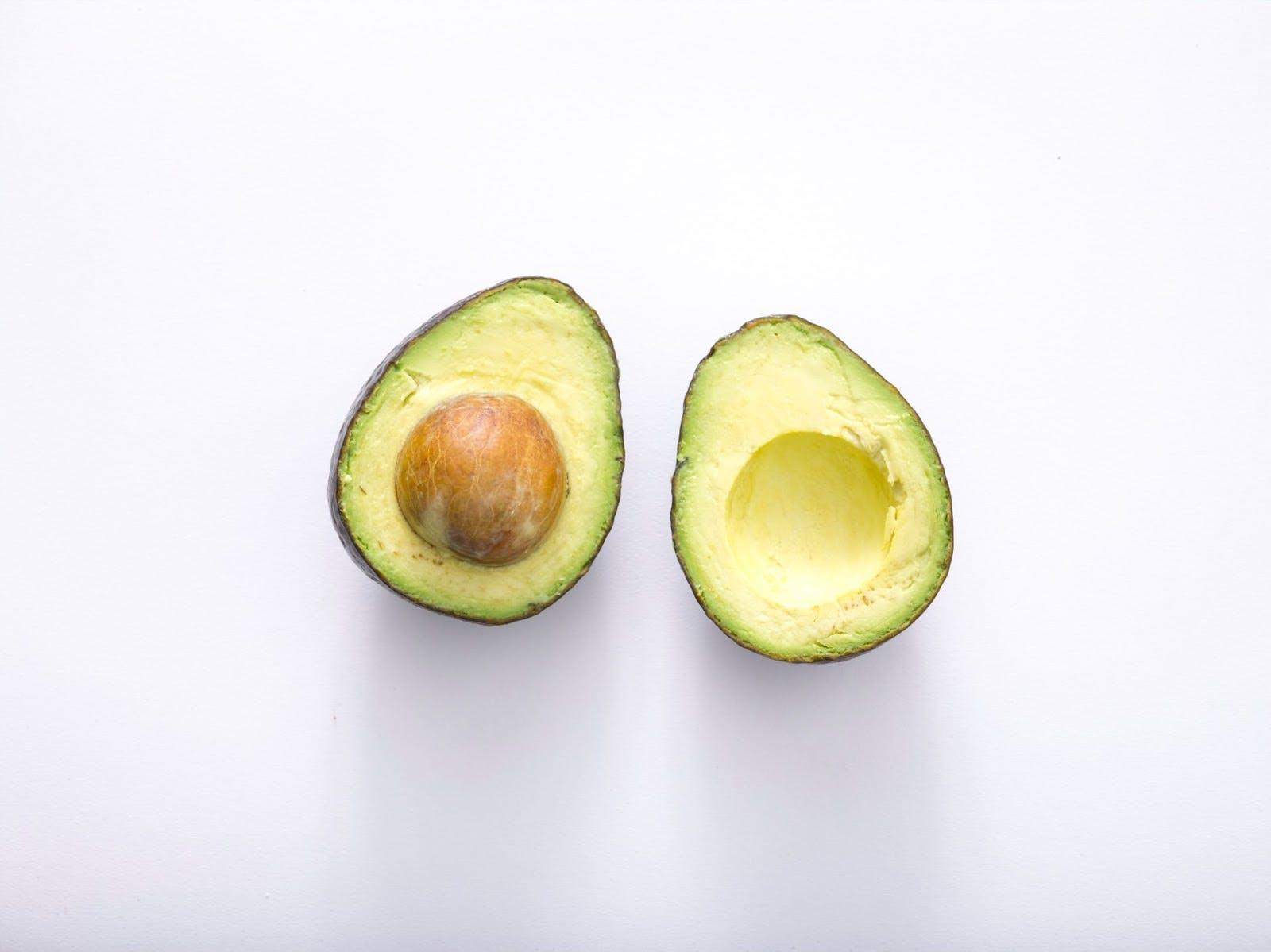 two avocado halves