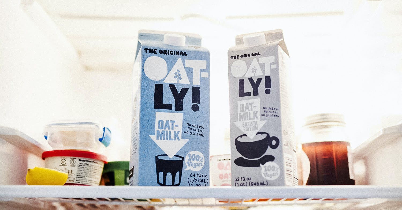 vegan milk in the fridge