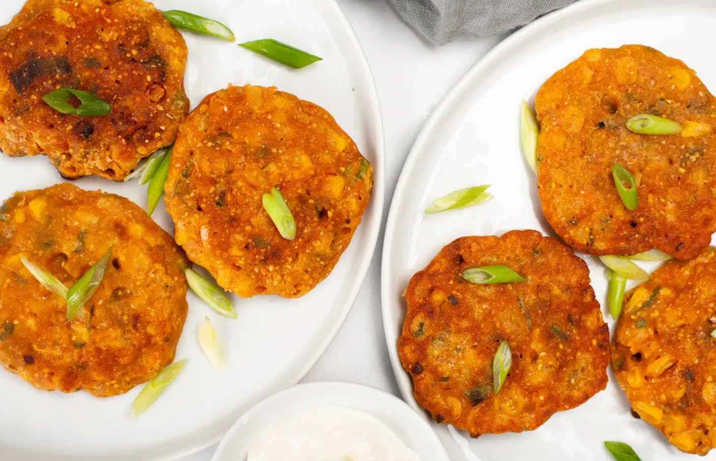 fritters on plates