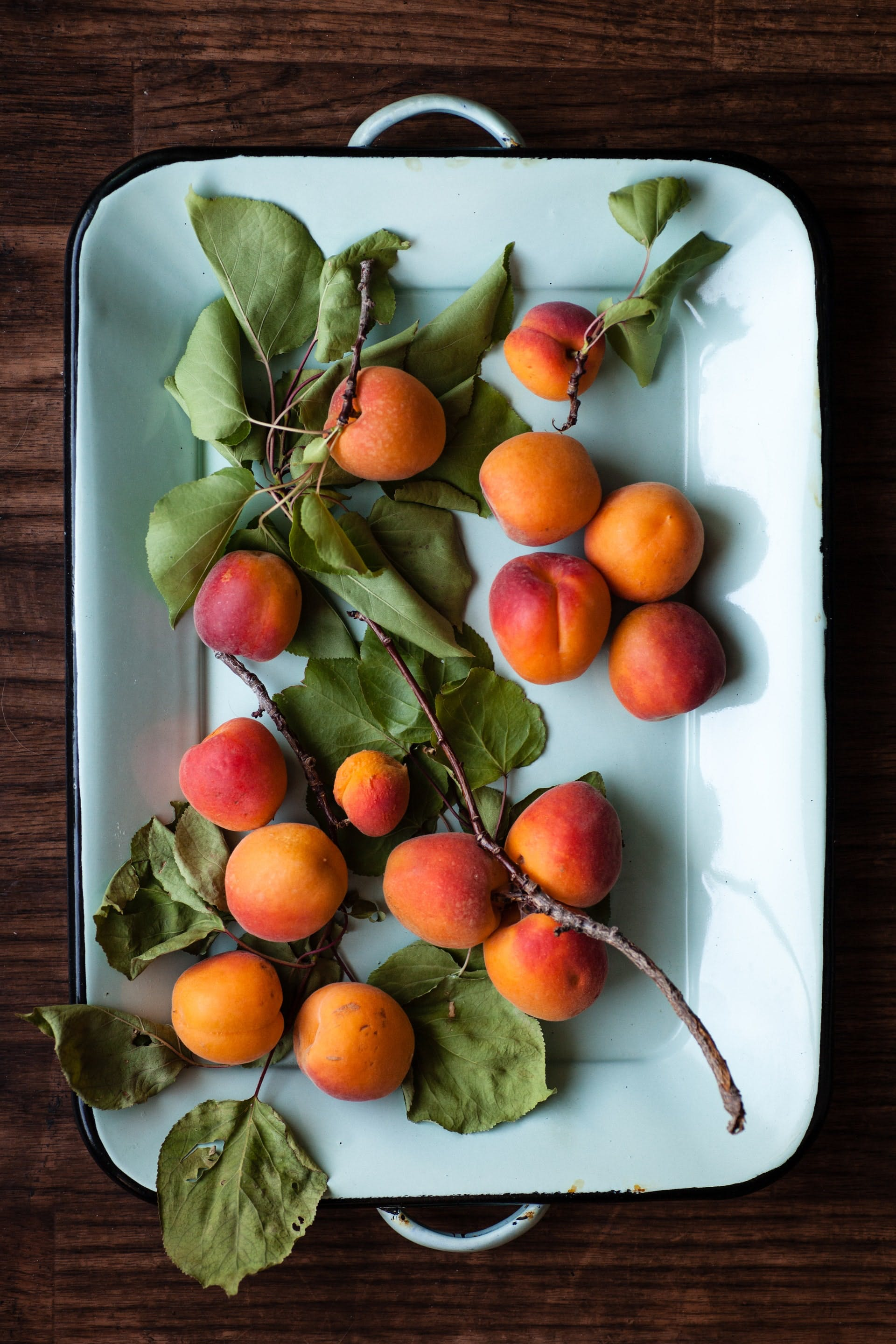 a dish of apricots