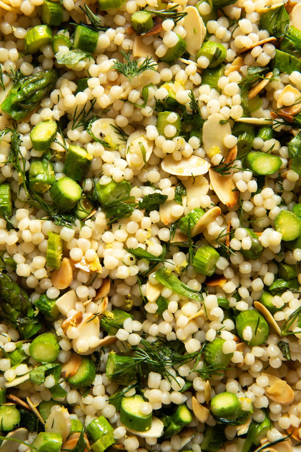 close shot of green and barley salad