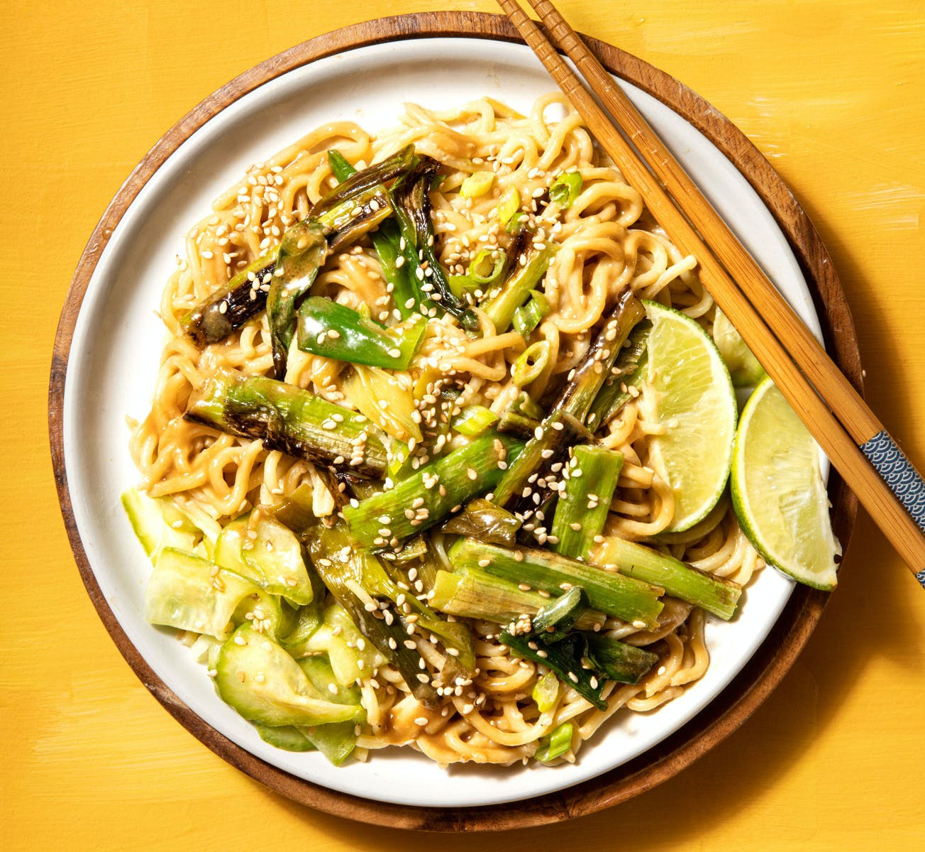 Charred spring onions and sesame noodles