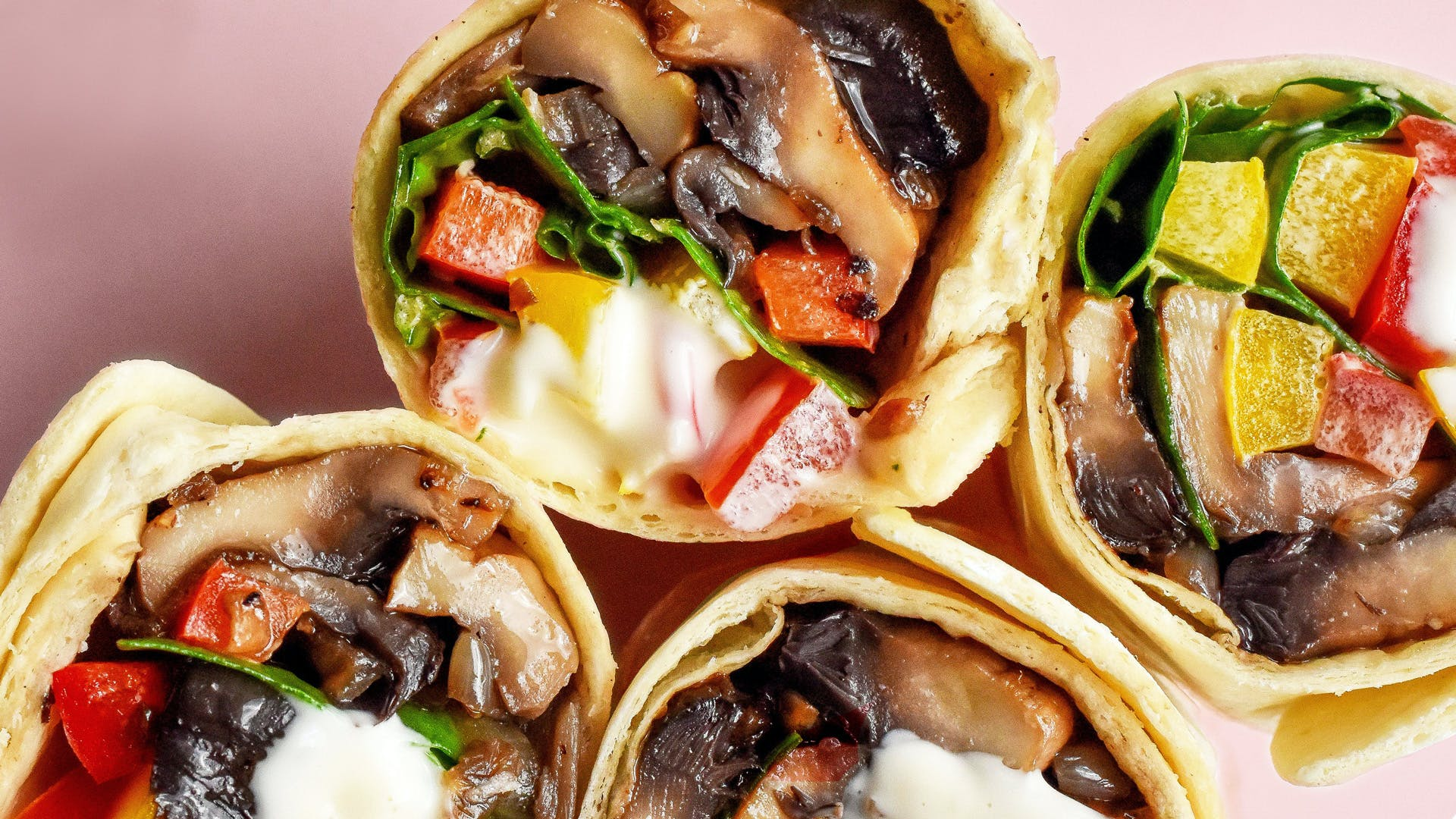 wraps. stacked on top of. each other