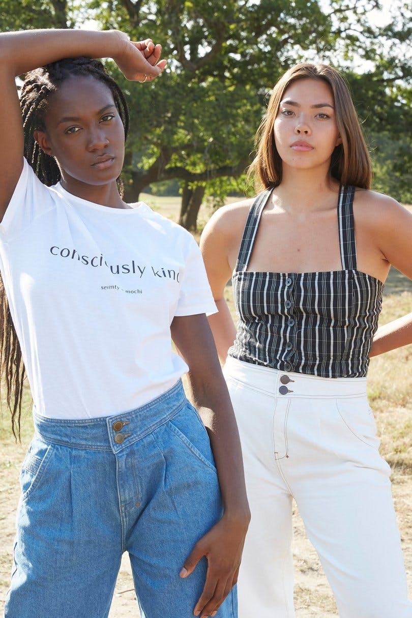 Two models wearing Seventy and Mochi