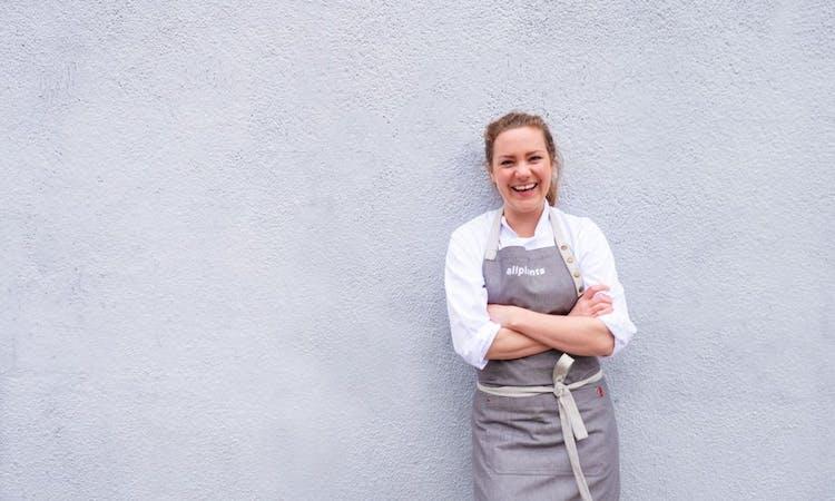 image of senior development chef Joey wearing her allplants apron