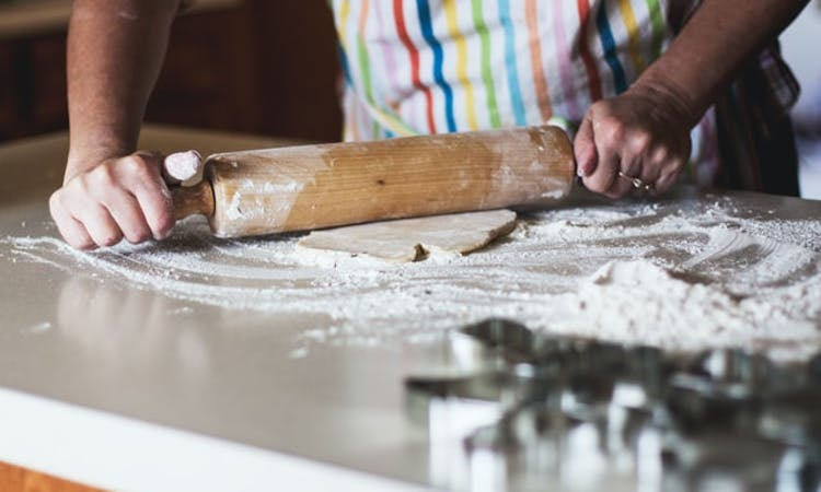 rolling pin on kitchen surface