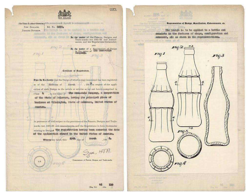 Old scientific drawings of Coca-Cola bottles