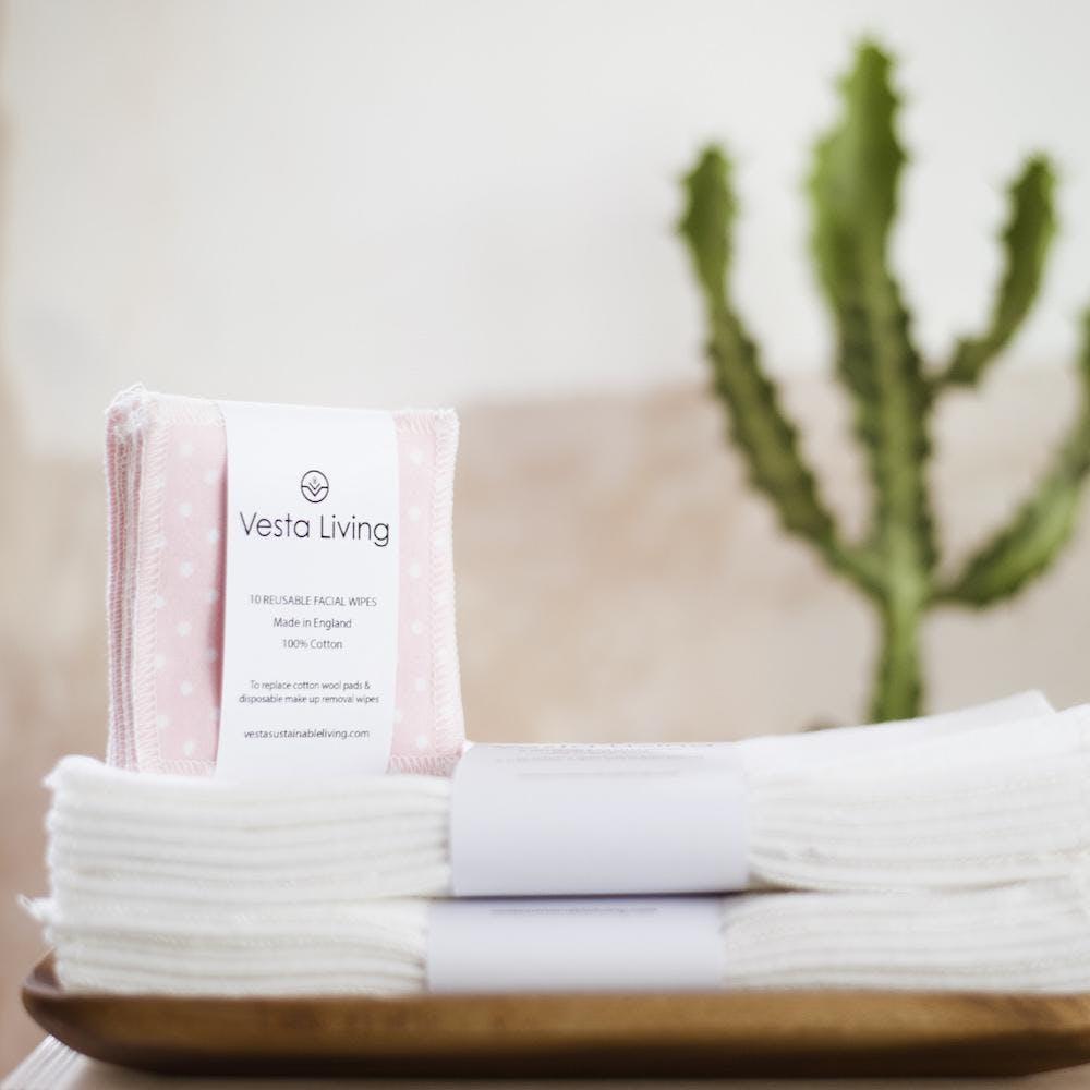 pink reusable vesta living face cloths