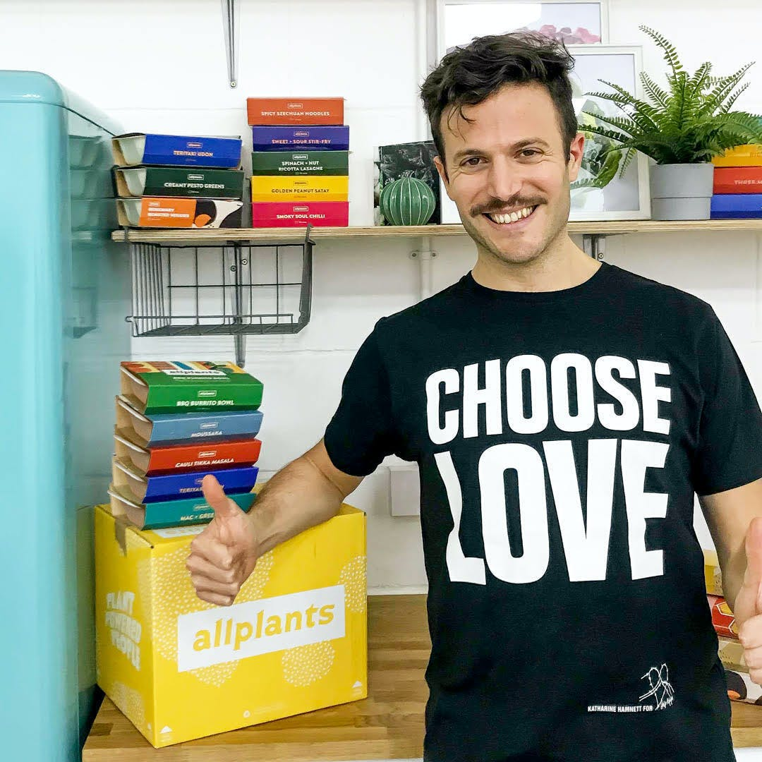 allplants CEO JP wearing choose love shirt