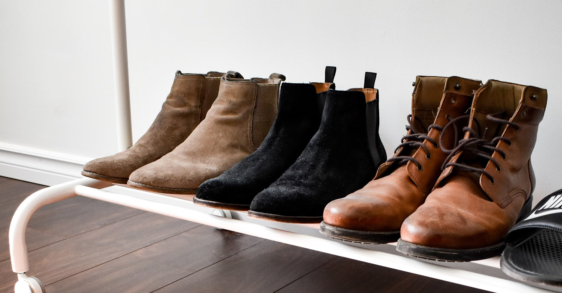 suede shoes in a row