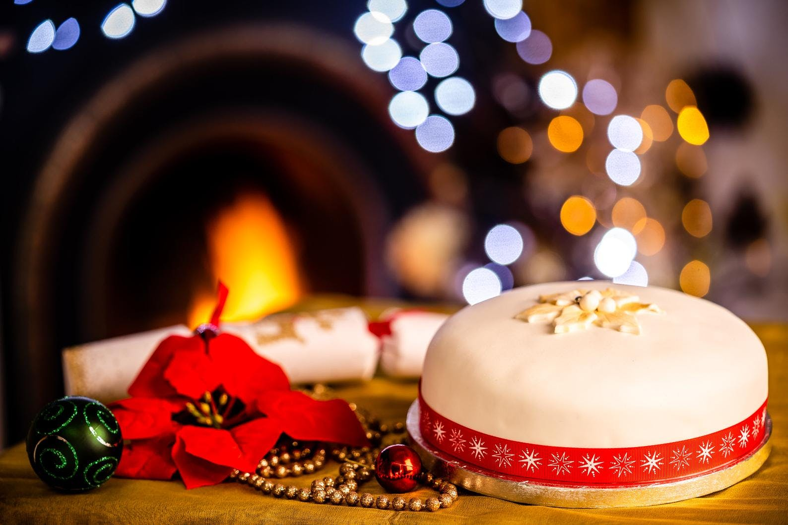 christmas cake infront of a fire