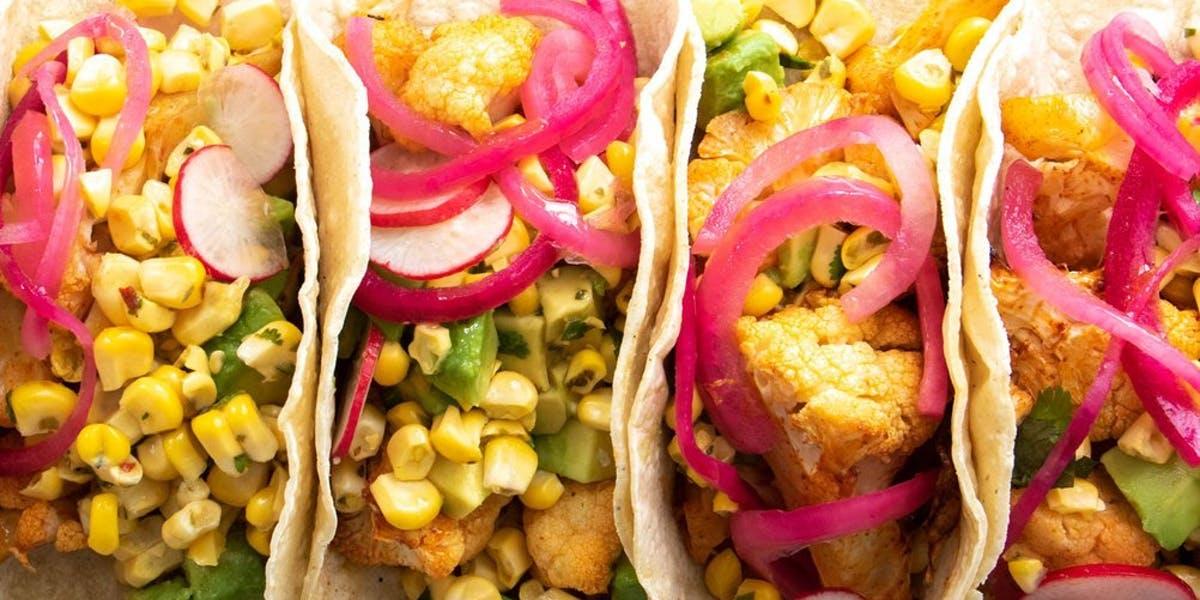 close shot of cauliflower tacos