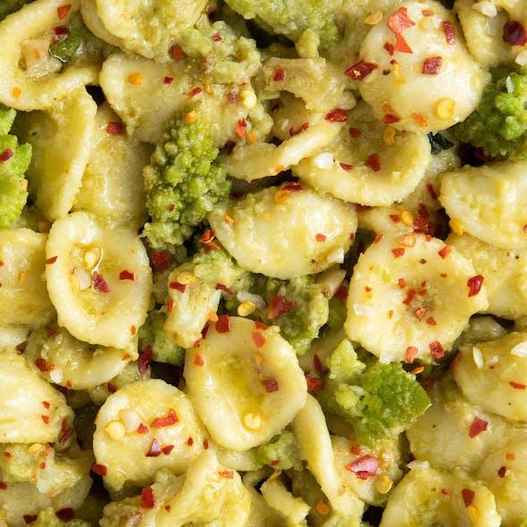 Orecchiette with broccoli close up