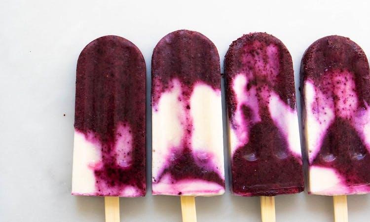 Blueberry ice lollies