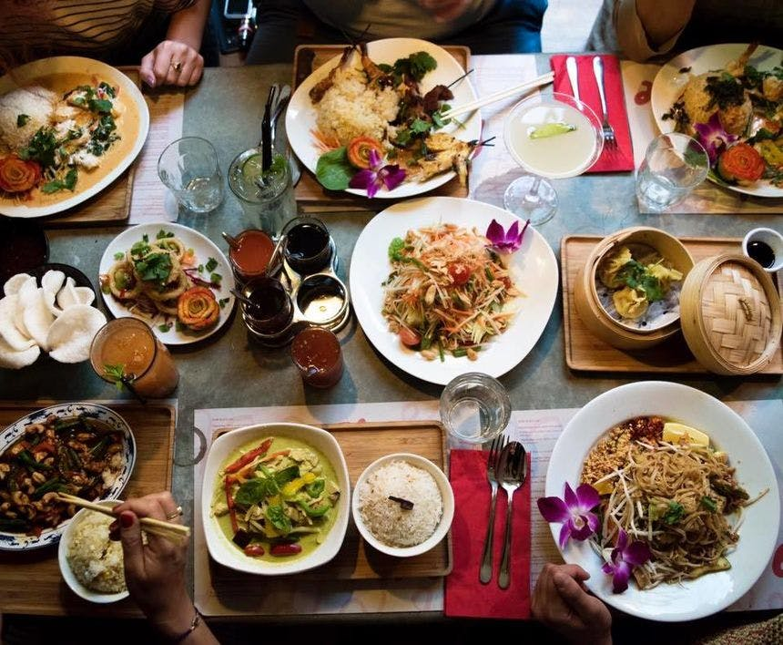 spread of vegan chinese food on table