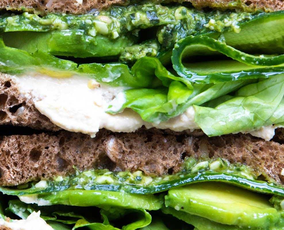 pesto greens sandwich