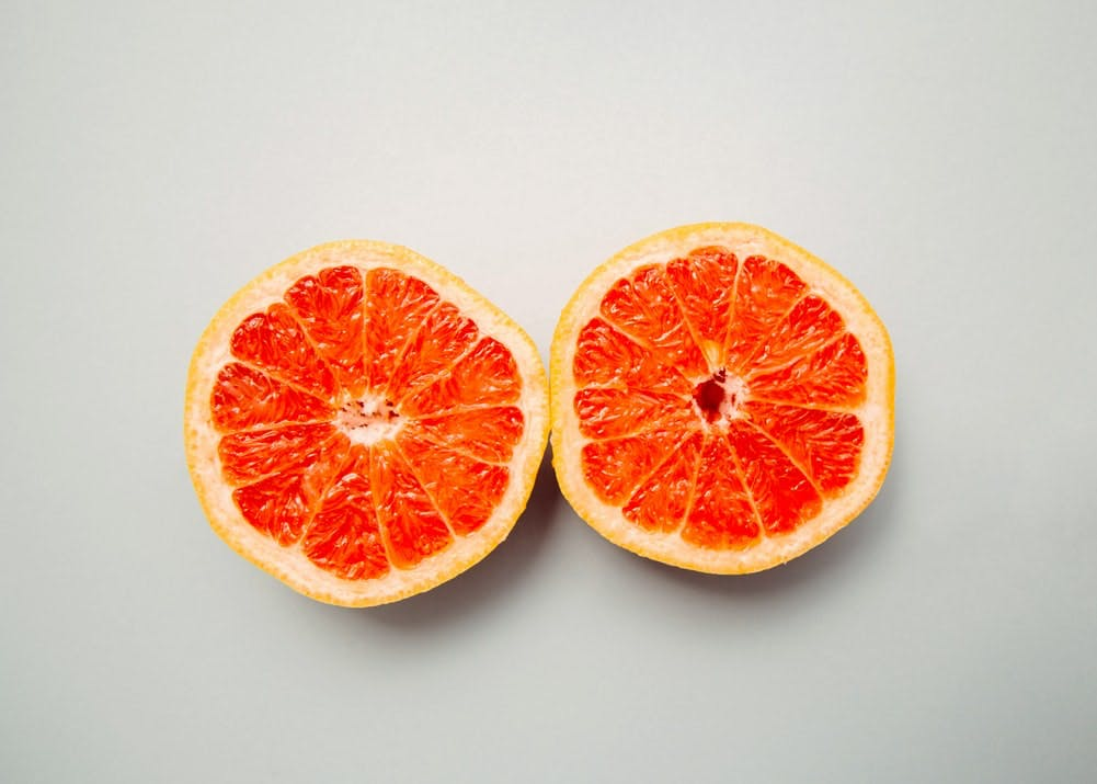 grapefruit sliced in half