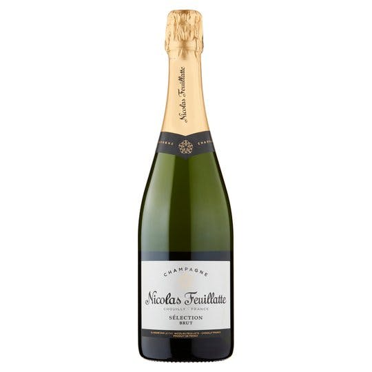 bottle of champagne on white background