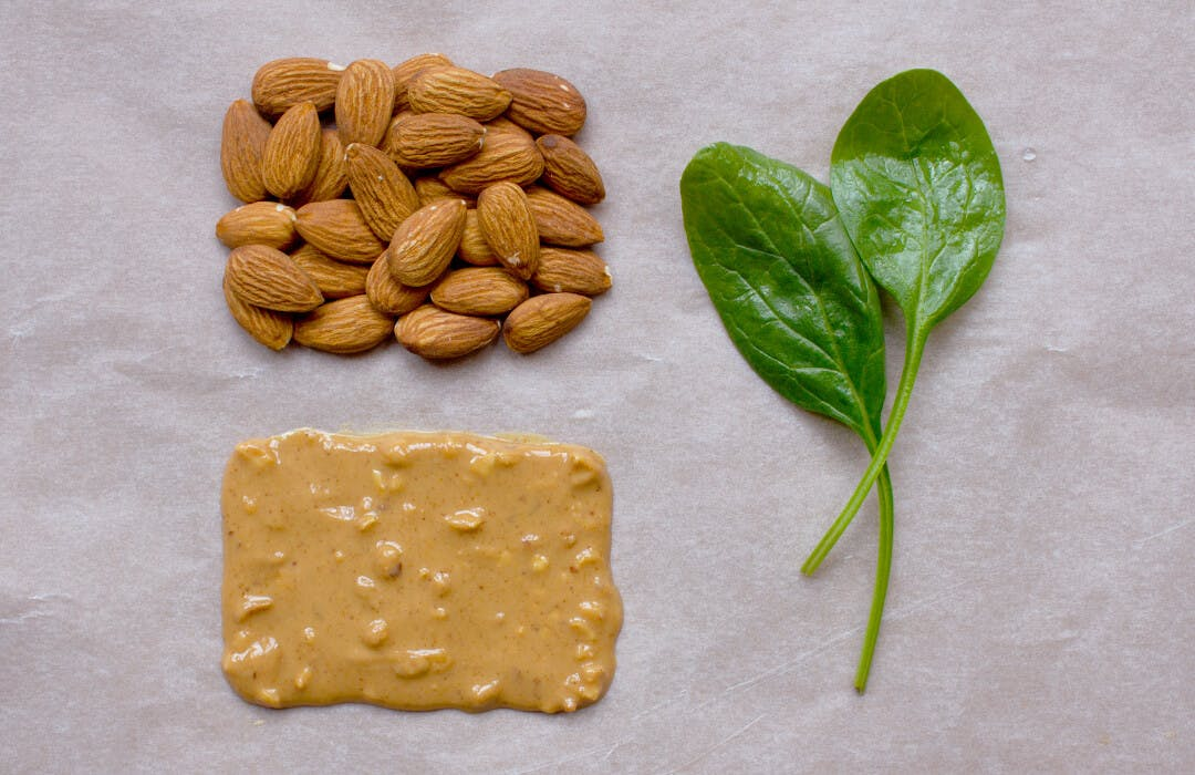 almonds peanut butter spinach
