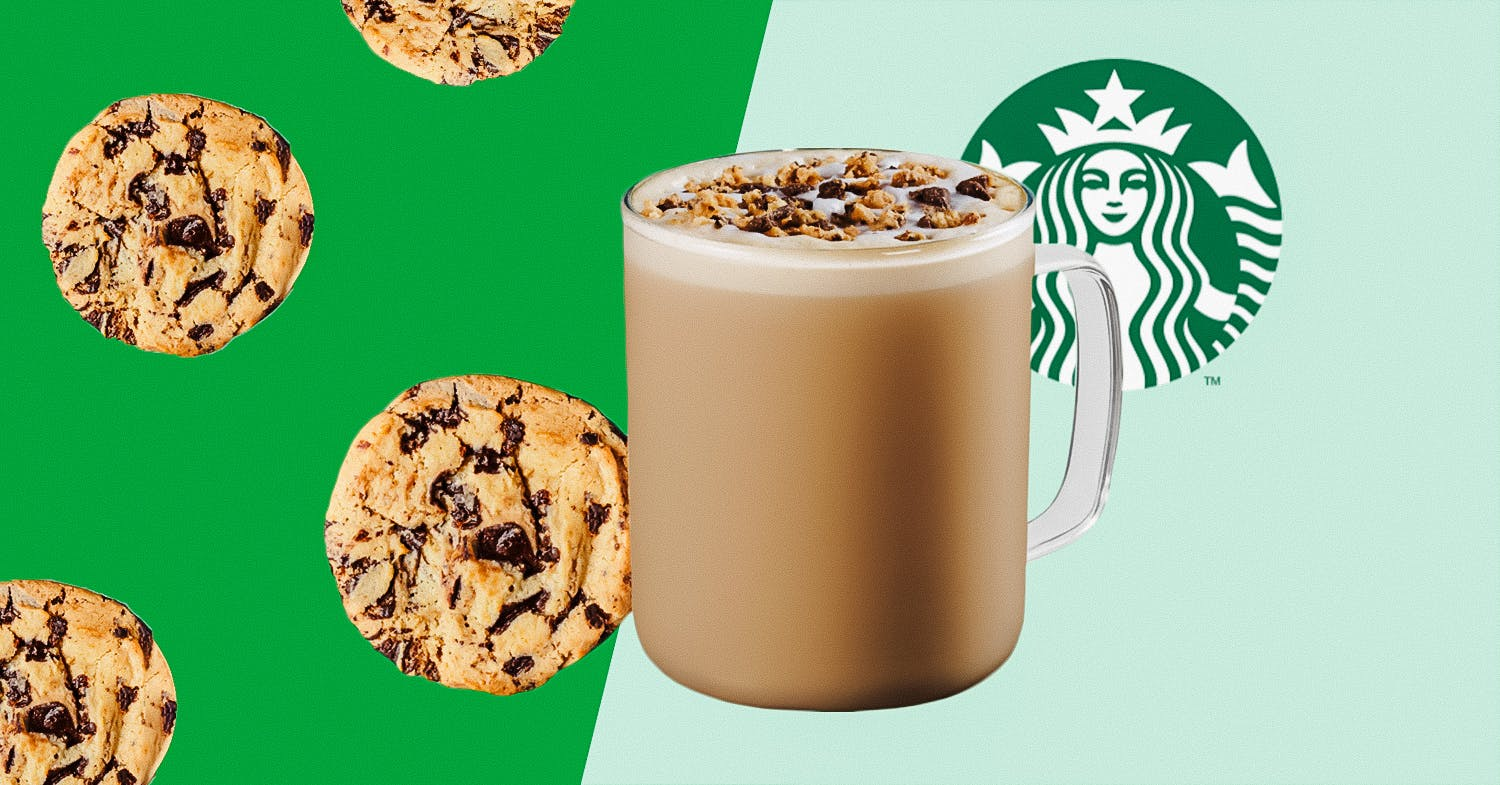 starbucks drink on cut out background with cookies and starbucks logo