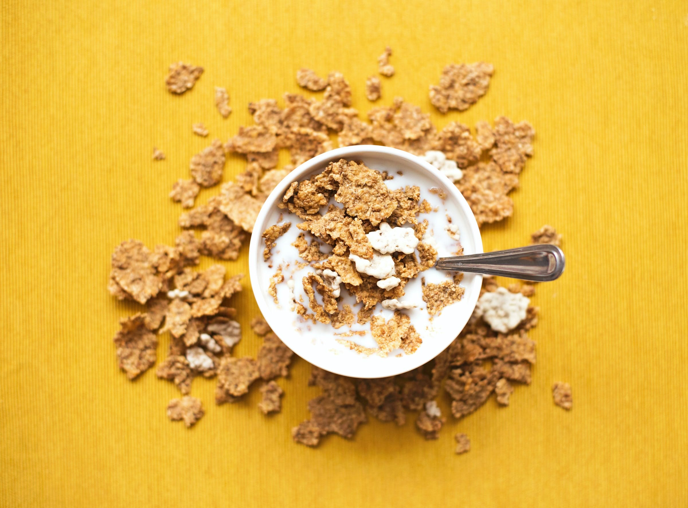 bowl of cereal on yellow background
