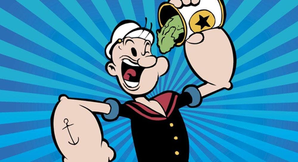 Popeye the cartoon eating spinach