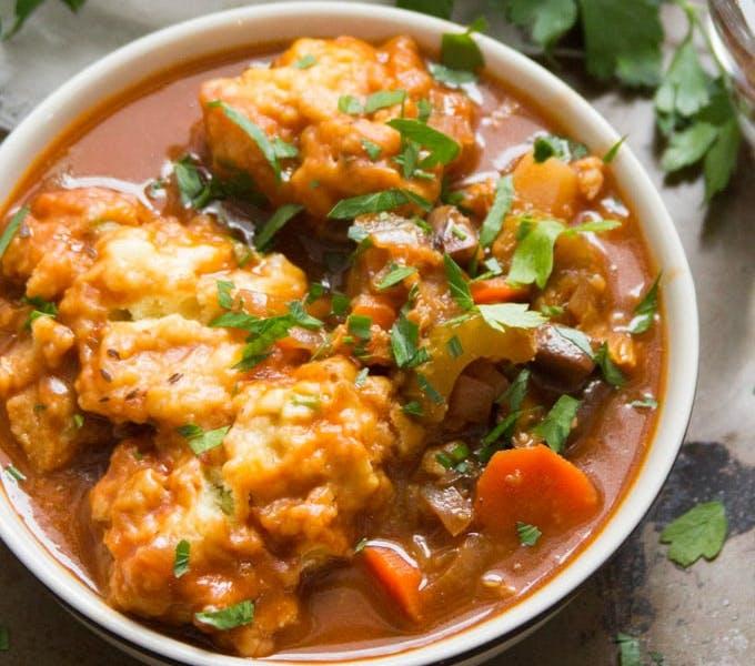 vegan irish stew and dumplings
