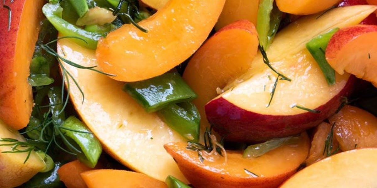 savoury peach salad