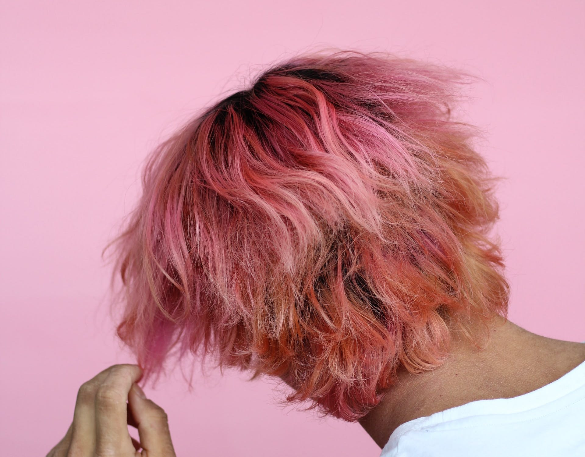 person with pink hair