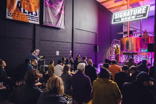 a stage in a brewery