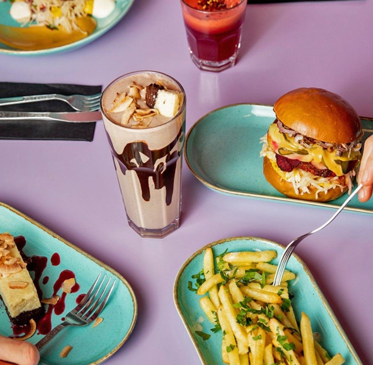burger and fries and milkshake