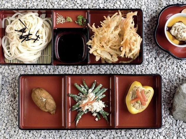 vegan sushi on platters