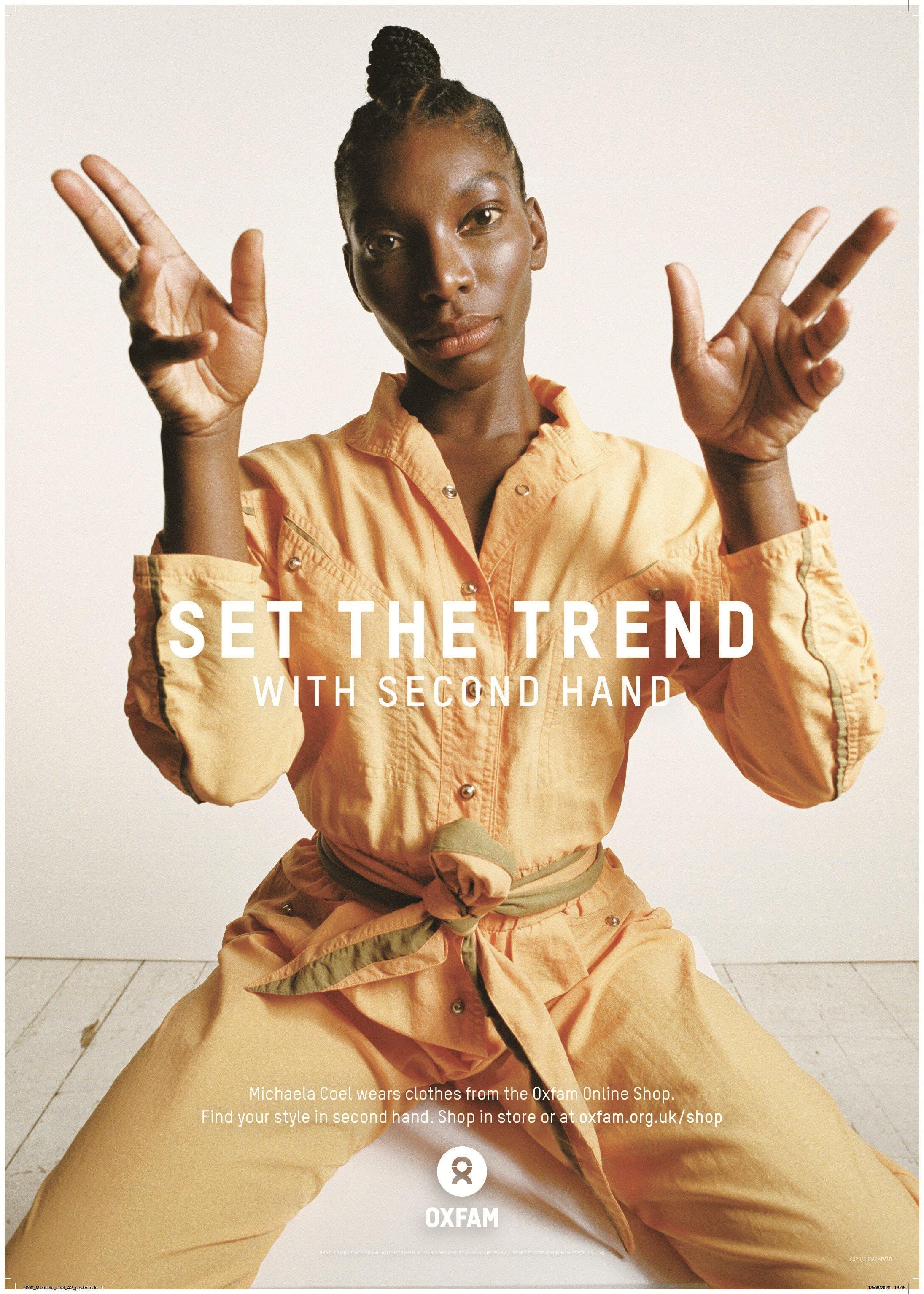 Michaela Coel modeling vintage jumpsuit