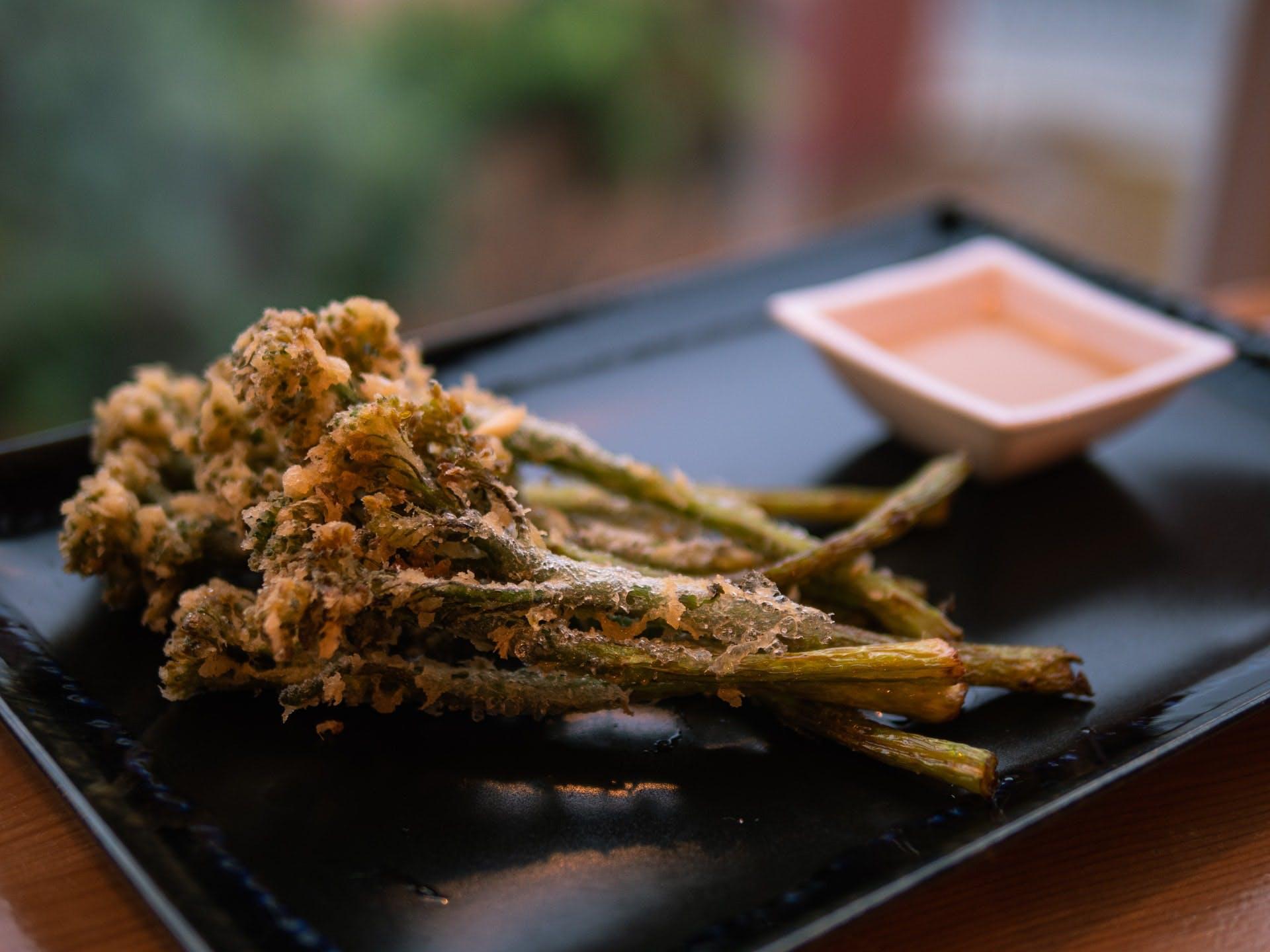 tempura broccoli on a plate