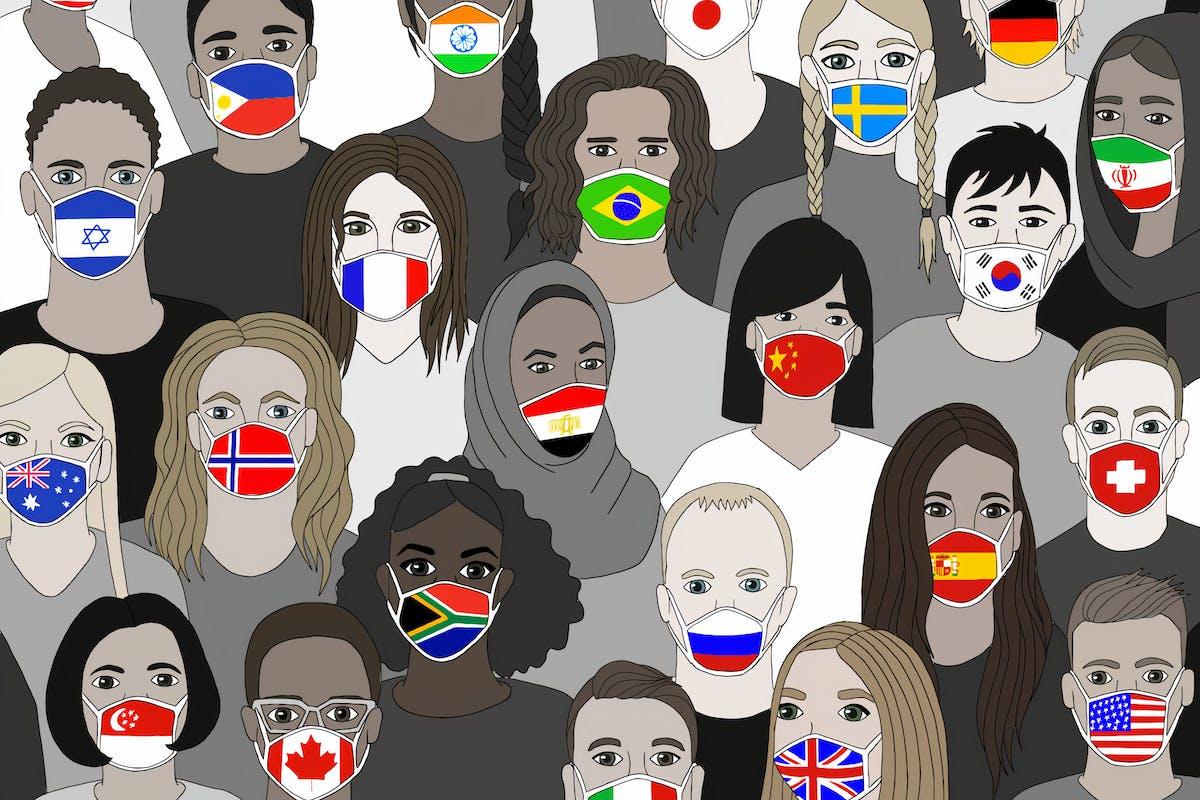 coronavirus masks globe world