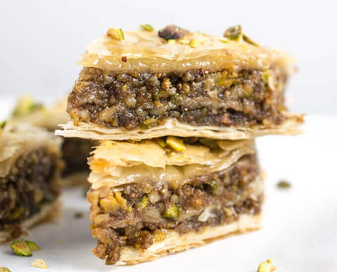 vegan baklave on a plate