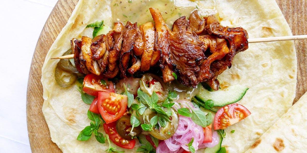 Oyster Mushroom Shawarma (with miso tahini & zhoug) image