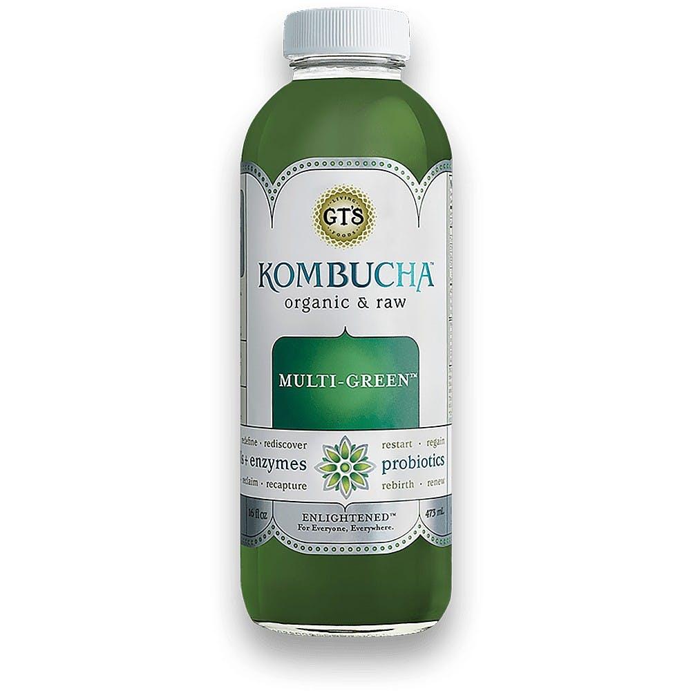 GT's kombucha, green bottle