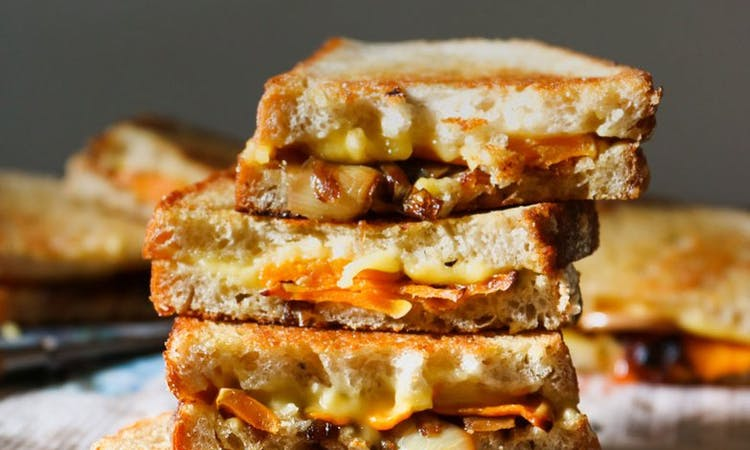 pumpkin and roasted onion toastie image