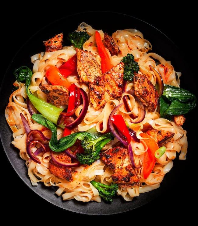 Vegan stir-fry on plate
