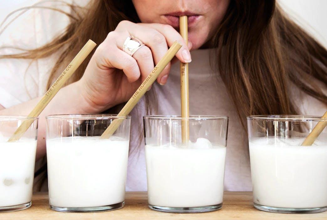 someone drinking milk