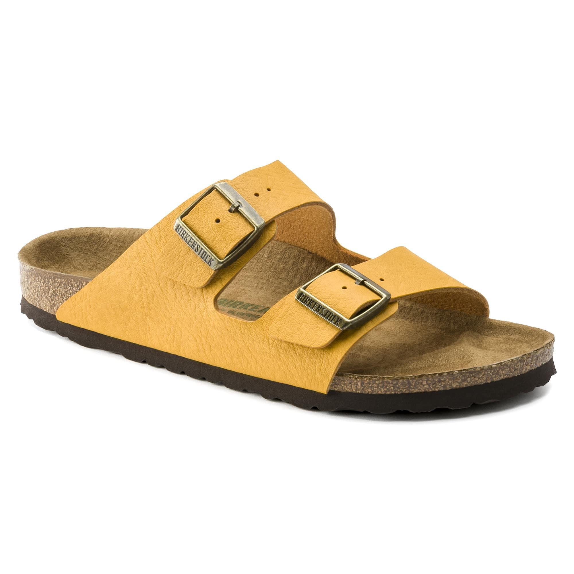 yellow vegan birkenstocks