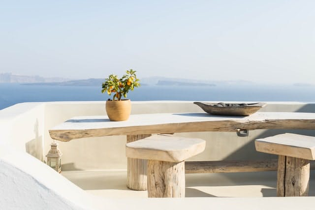 a Greek outdoor view