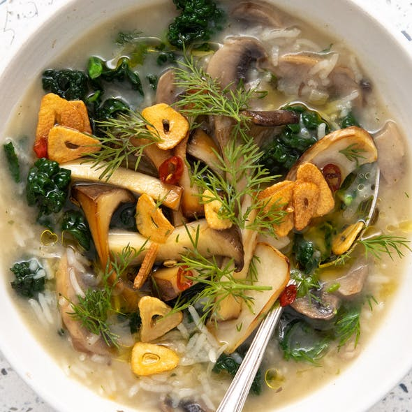 """Mushroom """"Chicken"""", Rice and Kale Soup image"""