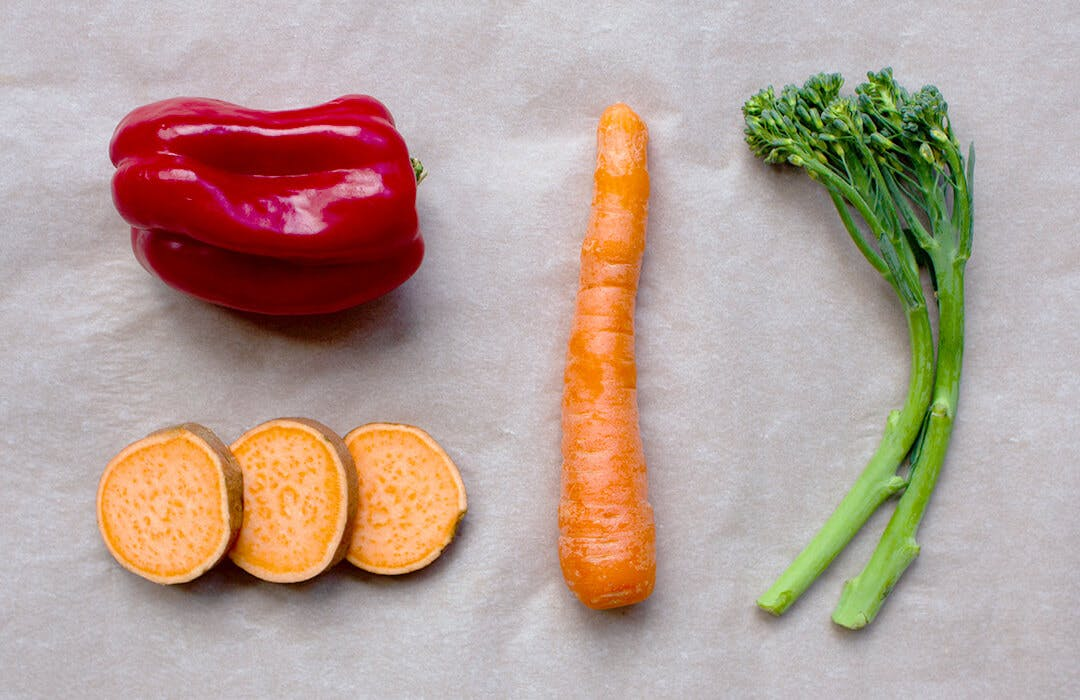 sweet potato, red pepper, carrot, broccoli