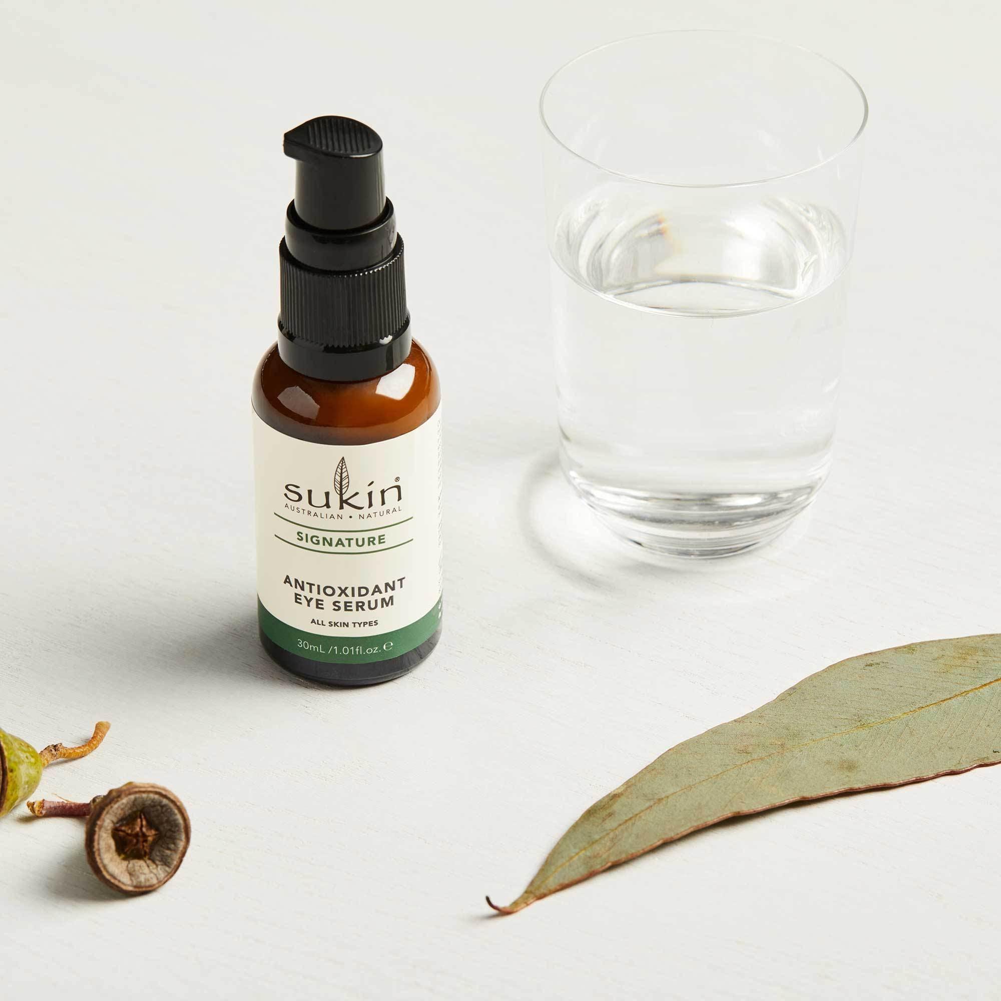 sukin eye cream in glass bottle