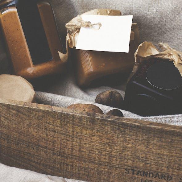 Wooden hamper containing jars