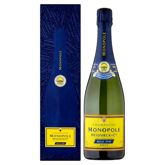 bottle of champagne on white background with blue box