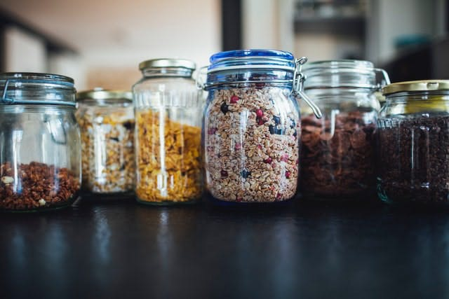 food. in glass containers