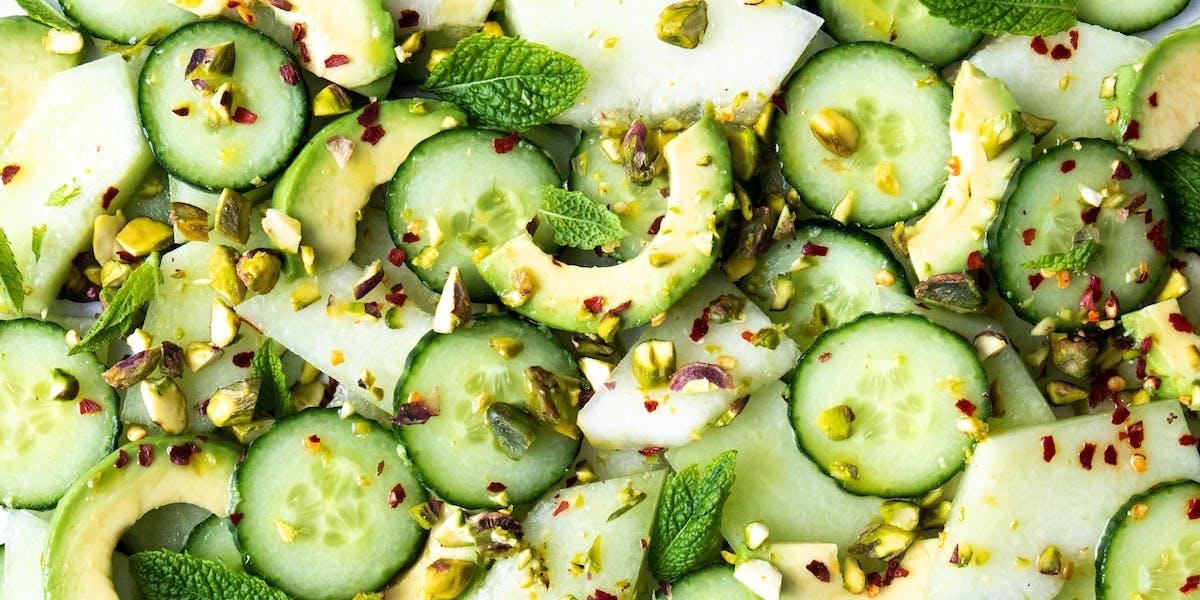 melon, cucumber, avocado salad